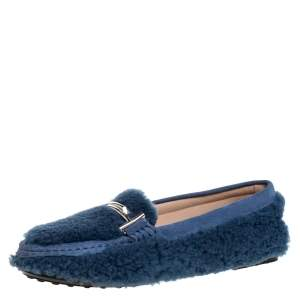 Tod's Blue Shealing And Suede Leather Double T Slip On Loafers Size 38.5