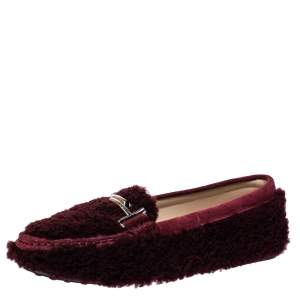 Tod's Burgundy Shearling And Suede Leather Double T Slip On Loafers Size 38.5