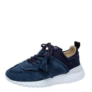 Tod's Blue Suede Leather Tassel Fringe Low Top Sneakers Size 37