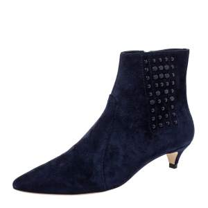Tod's Blue Suede Leather Studded Ankle Booties Size 36.5