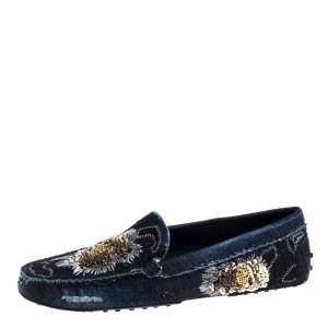 Tod's Blue Denim Fabric Sequin Embellished Slip On Loafers Size 37.5