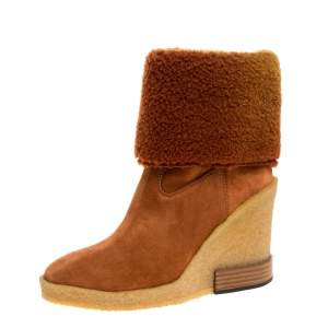 Tod's Brown Shearling And Suede Leather Wedge Ankle Boots Size 37