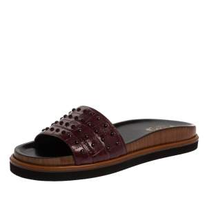 Tod's Burgundy Croc Embossed Leather Studded Flat Slides Size 38