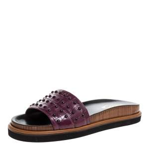 Tod's Burgundy Croc Embossed Leather Studded Flat Slides Size 37