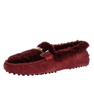 Tod's Burgundy Shearling And Suede Double T Slip On Loafers Size 38.5