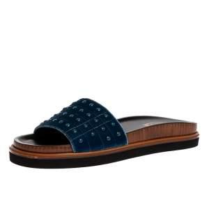 Tod's Blue Velvet Studded Flat Slides Size 39