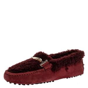 Tod's Burgundy Shearling And Suede Leather Double T Slip On Loafers Size 36.5