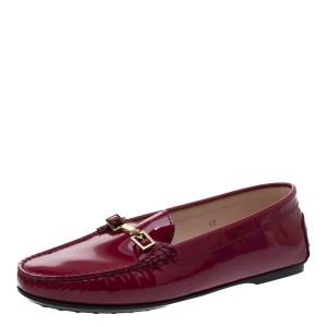 Tod's Fuchsia Patent Leather Horsebit Loafers Size 40