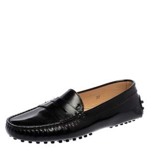 Tod's Black Patent Leather Penny Slip On Loafers Size 37