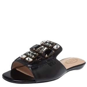 Tod's Black Leather Jewel Embellished Limited Edition Flat Slide Sandals Size 37