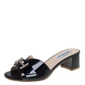 Tod's Black Patent Leather Double T Embellished Slide Sandals Size 38.5