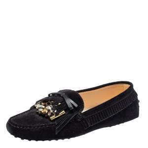Tod's Black Suede Bow Fringe Embellished Slip On Loafers Size 37