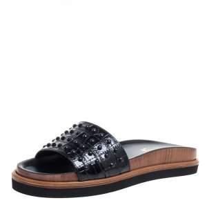 Tod's Black Croc Embossed Leather Fussbett Gommino Flat Slides Size 36