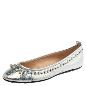 حذاء فلات باليه تودز مرصع جلد نقش جلد ثعبان فضى ميتالك مقاس 35.5