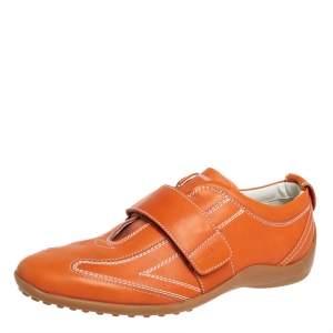 Tod's Leather Orange Velcro Strap Sneakers Size 40