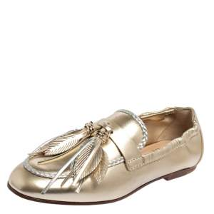 Tod's Metallic Gold/Silver Leather Fringe Slip On Loafers Size 36.5