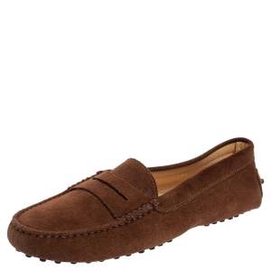Tod's Brown Suede Penny Slip On Loafers Size 39.5