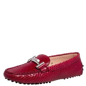 Tod's Red Python Double T Slip On Loafers Size 38