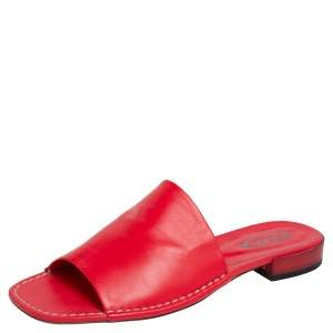 Tod's Red Leather Slide Sandals Size 39