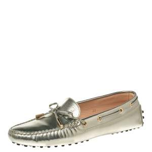 Tod's Gold Patent Leather Bow Loafers Size 39