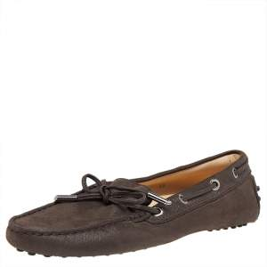 Tod's Brown Leather Bow Slip On Loafers Size 36