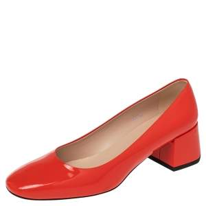 Tod's Red Patent Leather Block Heel Pumps Size 38.5