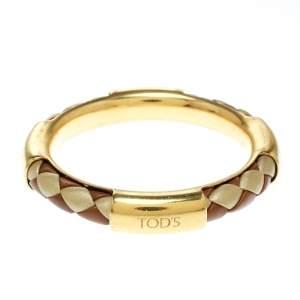 Tod's Woven Leather Gold Tone Bangle Bracelet