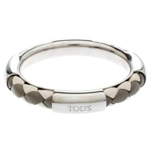 Tod's Woven Leather Silver Tone Bangle Bracelet
