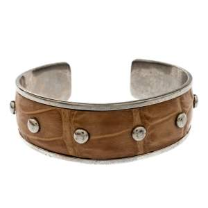 Tod's Tan Embossed Leather Studded Silver Tone Narrow Cuff Bracelet