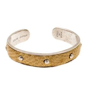 Tod's Mustard Leather Studded Silver Tone Narrow Cuff Bracelet