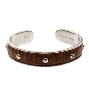 Tod's Brown Embossed Leather Silver Tone Studded Narrow Cuff