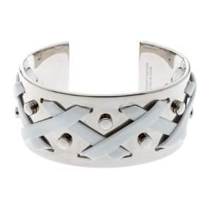 Tod's White Leather Criss Cross Gold Tone Open Cuff Bracelet