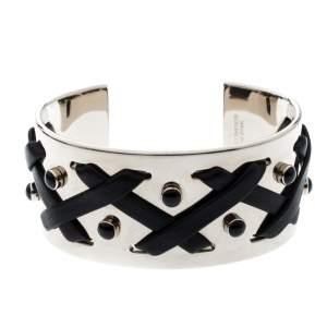 Tod's Black Leather Criss Cross Gold Tone Open Cuff Bracelet