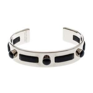 Tod's Black Leather Gold Tone Open Cuff Bracelet
