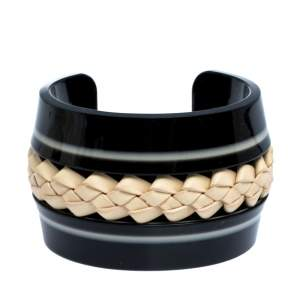 Tod's Black Braided Leather Inlay Resin Open Cuff Bracelet