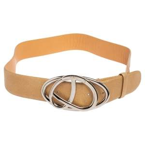 حزام تودز جلد ذهبي ميتاليك بإبزيم 85 سم