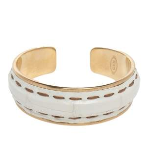 Tod's Gold Tone Stitch Detail White Leather Narrow Cuff Bracelet