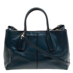 Tod's Blue Green Leather D-Styling Shopper Tote