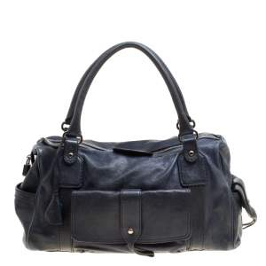 Tod's Dark Blue Leather Pockets Satchel