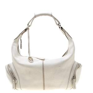 Tod's White Leather Charlotte Hobo