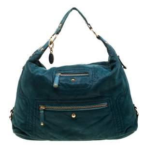 Tod's Green Shimmering Suede Pashmy Hobo