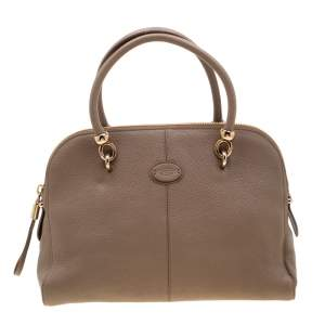 Tod's Dark Beige Leather Satchel