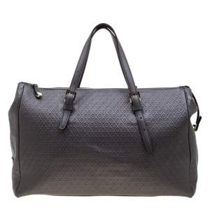 Tod's Grey Signature Embossed Leather Satchel