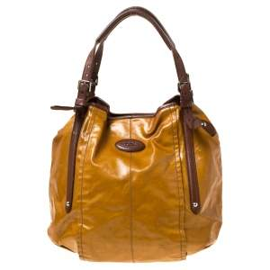 Tod's Mustard Glazed Coated Canvas and Leather G-Line Easy Sacca Tote