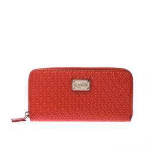 Tod's Coral Orange Signature Patent Leather Zip Around Wallet