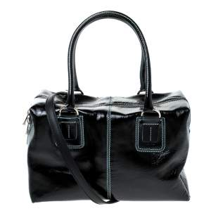 Tod's Black Patent Leather Box Satchel