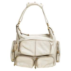 Tod's Cream Leather Zipped Pockets Satchel