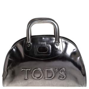 Tod's Metallic Silver Patent Leather Satchel