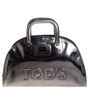 Tod's Metallic Silver Patent Leather Satchel
