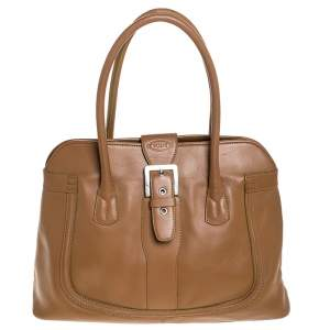 Tod's Tan Leather Buckle Satchel